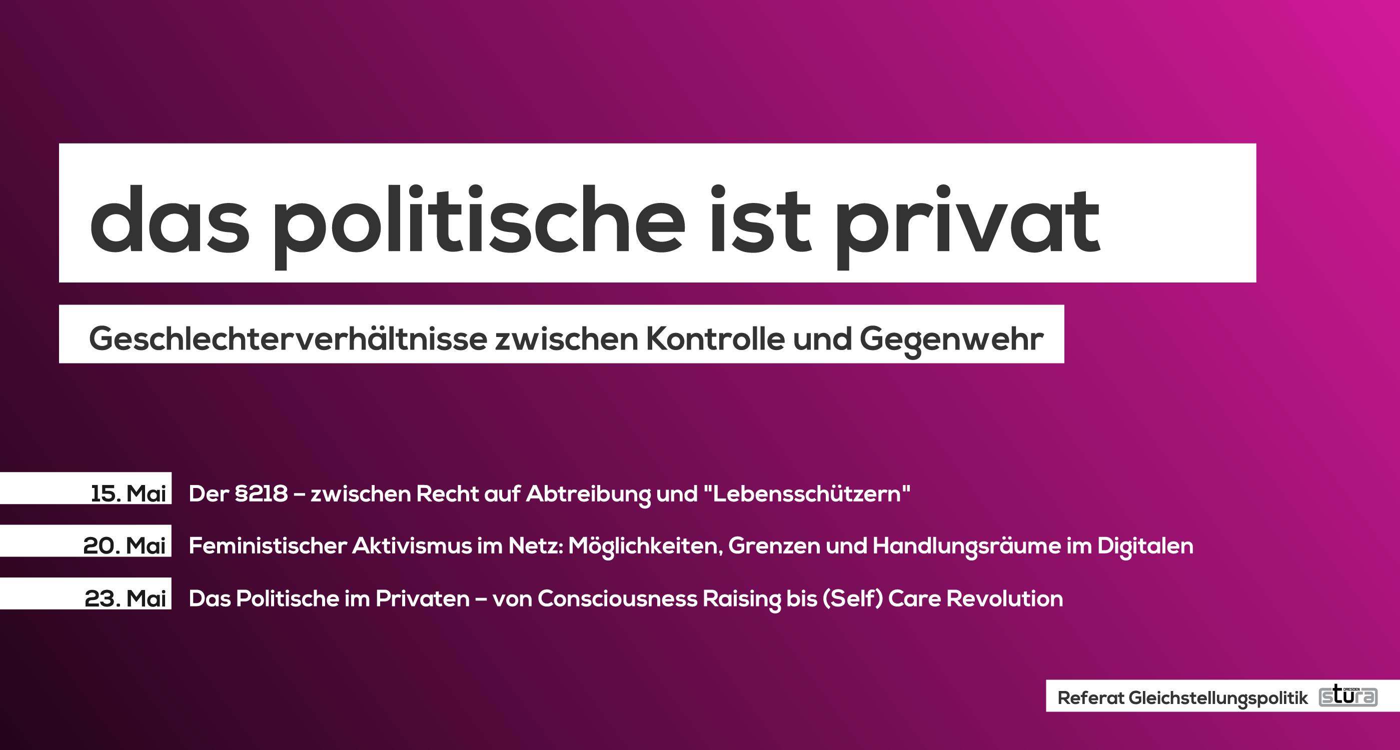 """""""Das Politische ist privat – Geschlechterverhältnisse zwischen Kontrolle und Selbstbestimmung"""""""